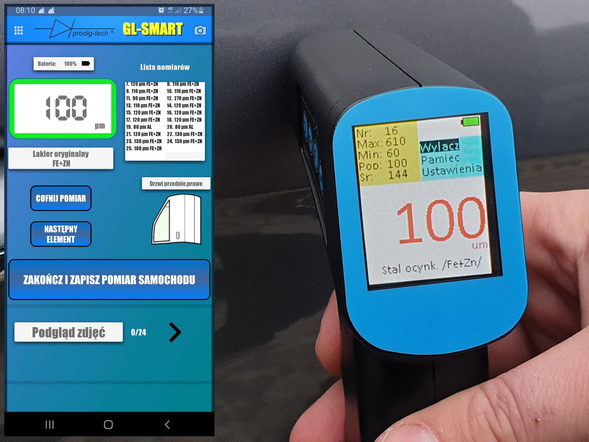 pomiar miernikiem lakieru z aplikacją gl smart